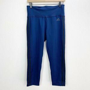 Adidas Navy Blue Three Stripe Crop Leggings